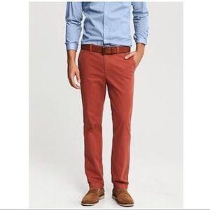 Banana Republic Red Aiden Summer Chino Pants 33/32